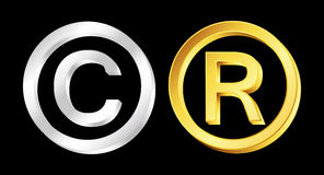 Copyright and reserved signs Royalty Free Stock Photos