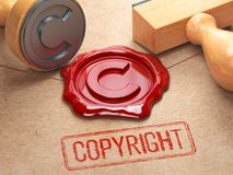 Copyright rubber stamp  and sealing wax stamrp on the craft pepe Royalty Free Stock Image