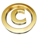 Copyright sign. Gold copyright sign. Perspective view Royalty Free Stock Photos