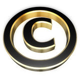 Copyright sign. Gold and black copyright sign. Perspective view Stock Image
