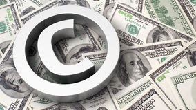 Copyright sign on the dollar background Stock Images