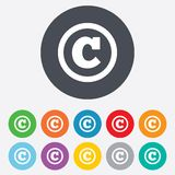 Copyright sign icon. Copyright button. Royalty Free Stock Image