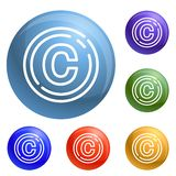 Copyright sign icons set vector stock illustration