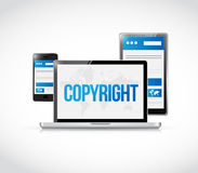 Copyright sign on a laptop computer screen Stock Images