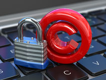 Copyright sign with lock on the laptop keyboard. Intellectual pr Stock Photos