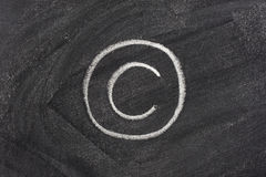Copyright sign on school blackboard Royalty Free Stock Images