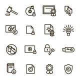 Copyright Signs Black Thin Line Icon Set. Vector stock illustration