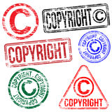 Copyright Stamps. Rectangular and round copyright rubber stamp s Royalty Free Stock Photography