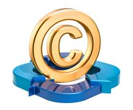 Copyright symbol with blue arrows, 3D rendering. Isolated on white background Stock Image