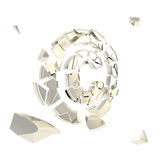Copyright symbol broken into chrome pieces isolated Royalty Free Stock Photo
