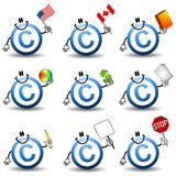 Copyright Symbol Cartoons. An illustration featuring an assortment of copyright symbol cartoons holding various items representing themes such as - canada, us royalty free illustration