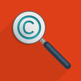 Copyright symbol. Concept for protection of intellectual property and copyright. Flat design illustration Stock Images
