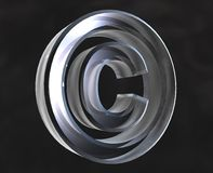 Copyright symbol in glass. Copyright symbol in transparent glass (3d Stock Photo