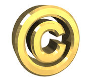 Copyright symbol in gold (3d) Royalty Free Stock Photos