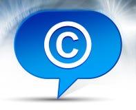 Copyright symbol icon blue bubble background. Copyright symbol icon isolated on blue bubble background stock illustration
