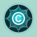 Copyright symbol icon magical glassy sunburst blue button sky blue background. Copyright symbol icon isolated on magical glassy sunburst blue button sky blue stock illustration