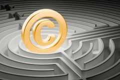 Copyright symbol inside labyrinth maze. 3D rendering Stock Image