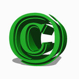 Copyright  symbol. Copyright symbol in light green 3d Royalty Free Stock Images