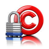 Copyright symbol with lock. Protection concept. Royalty Free Stock Photography