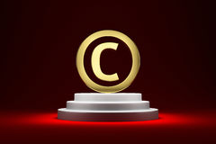 Copyright symbol on the podium Royalty Free Stock Photo