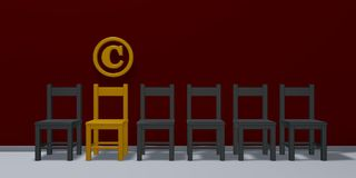 Copyright symbol and row of chairs Stock Photos
