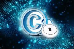 Copyright-Symbolkonzept der Illustration 3d, Urheberschutz mit Vorhängeschloß Stockfoto