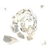 Copyright-symbool dat in geïsoleerde chroomstukken wordt gebroken Royalty-vrije Stock Foto