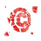 Copyright-symbool in geïsoleerde die stukken wordt gebroken Royalty-vrije Stock Afbeeldingen