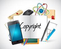 Copyright tools and sign illustration Stock Photos