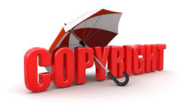 Copyright under Umbrella (clipping path included) Royalty Free Stock Photo