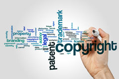 Copyright word cloud concept on grey background Royalty Free Stock Image