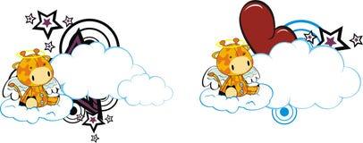 Copyspace ангела шаржа жирафа милое Стоковое Изображение RF