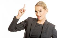 женщина copyspace дела указывая Стоковая Фотография RF