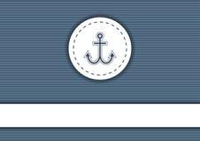 海军海报有镶边背景、船锚和copyspace 库存图片
