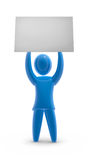 Copyspace. Figure showing blank poster. Concept of protest, adverting and communication Royalty Free Stock Images