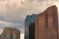 Copyspace av tre av skyskrapor för Boston ` s Arkivbilder