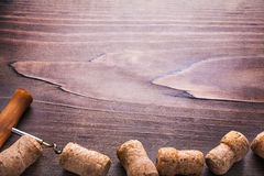 Copyspace background corks of champagne and Stock Image