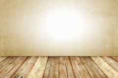 Copyspace Background With An Empty Grunge Wall With Wooden Floor Royalty Free Stock Photos