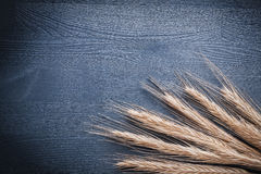 Copyspace-Bildstapel Weizenähren auf Weinlesebrett Lizenzfreie Stockfotografie