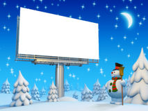 Copyspace board and snowman Royalty Free Stock Photos
