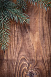 Copyspace christmas background branches of fir tree on old woode Royalty Free Stock Images