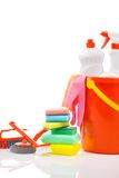 Copyspace composition of cleaning items Royalty Free Stock Photos