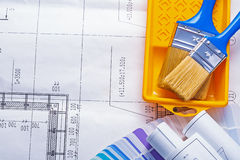 Copyspace construction concept two paintbrushes in Royalty Free Stock Photo