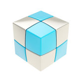 Copyspace cube of smaller silver and blue ones isolated Royalty Free Stock Image