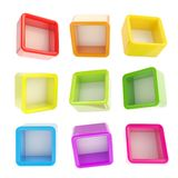 Copyspace cube square shelf boxes isolated Stock Image