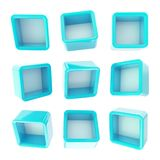 Copyspace cube square shelf boxes isolated Stock Photo
