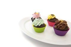 copyspace cupcakes πιάτο Στοκ εικόνες με δικαίωμα ελεύθερης χρήσης