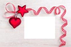 Copyspace de label de ruban de coeur d'étoile Photographie stock