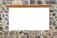 Copyspace do espaço em branco do indicador da parede de alvenaria de pedra Imagens de Stock Royalty Free