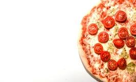 Copyspace dos queijos da pizza quatro no branco Foto de Stock